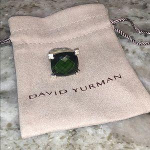 David Yurman 20mm Prasiolite Cushion on Point Ring